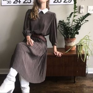 Vintage Black and Brown Striped Pleated Midi Dress